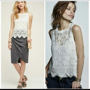 Anthropologie NWT white lace scalloped hem shell